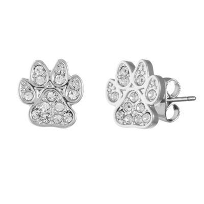 Sparkle Allure Paw Print Clear Pure Silver Over Brass 11.5mm Stud Earrings