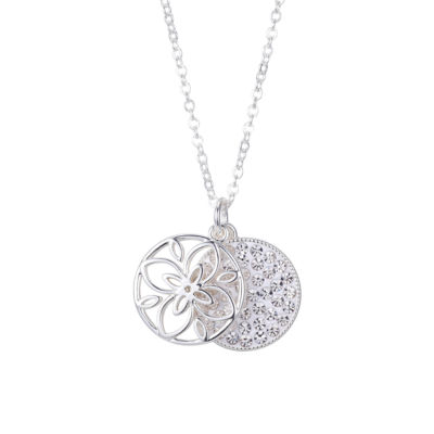 Sparkle Allure Friends Forever Womens Gray Crystal Pure Silver Over Brass Flower Pendant Necklace