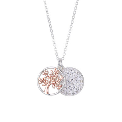 Sparkle Allure One Love One Family Womens Gray Crystal Pure Silver Over Brass Pendant Necklace