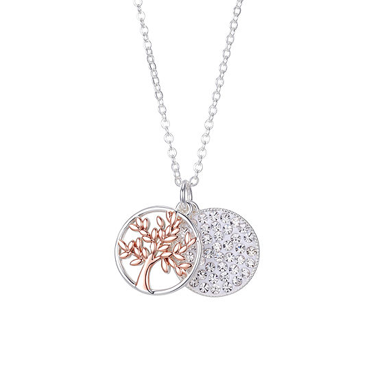 Sparkle Allure One Love One Family Gray Crystal Pure Silver Over Brass 18 Inch Cable Pendant Necklace