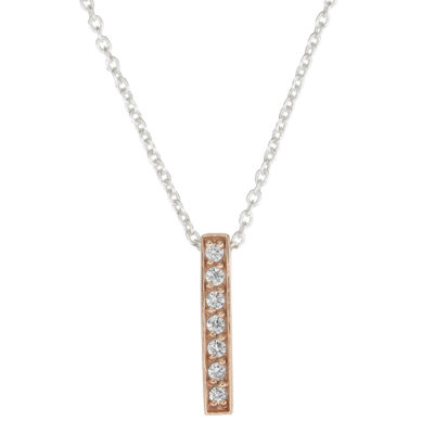 Footnotes Womens Cubic Zirconia Sterling Silver Pendant Necklace