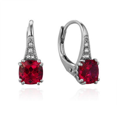 Lab Created Red Ruby Drop Earrings