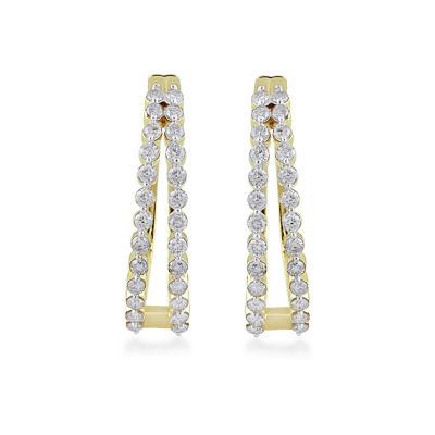 1 CT. T.W. Genuine Diamond 10K Gold 22.8mm Hoop Earrings