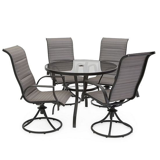Outdoor Oasis 5-Pc Melbourne Round Glass Table with Swivel Chairs Patio Dining Set