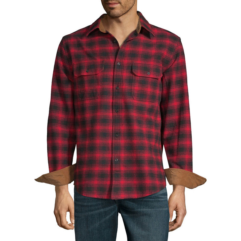 Mens Vintage Shirts – Retro Shirts St. Johns Bay Mens Long Sleeve Checked Button-Front Shirt Size X-large Red $9.99 AT vintagedancer.com