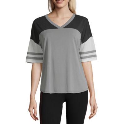 Flirtitude Short Sleeve V Neck T-Shirt-Womens Juniors