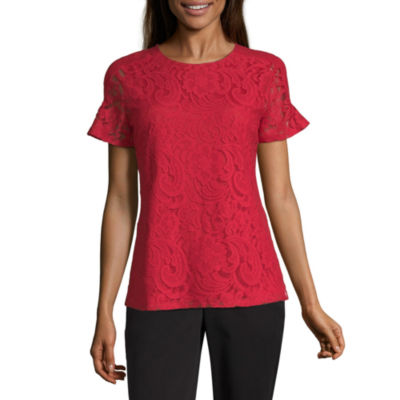 Liz Claiborne Womens Crew Neck Short Sleeve Lace Blouse