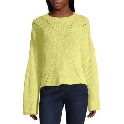 a.n.a. Womens Round Neck Long Sleeve Pullover Sweater