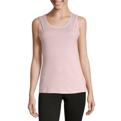Liz Claiborne-Womens Crew Neck Sleeveless T-Shirt