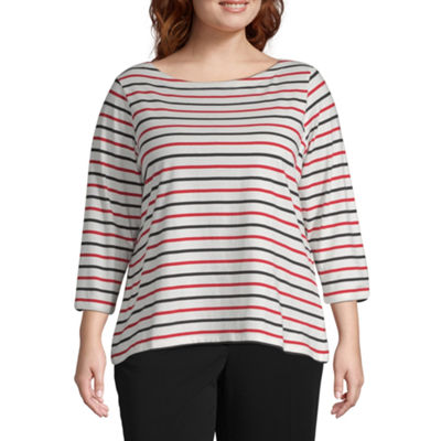 Liz Claiborne Simply 3/4 Sleeve Stripe Boatneck Tee - Plus