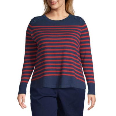 Liz Claiborne Simply Breton Stripe Pullover - Plus