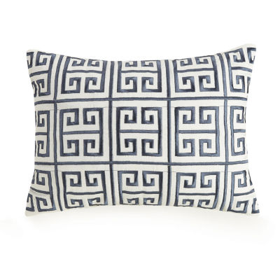 Ayesha Curry Rhapsody Greek Key Embroidered Rectangular Throw Pillow