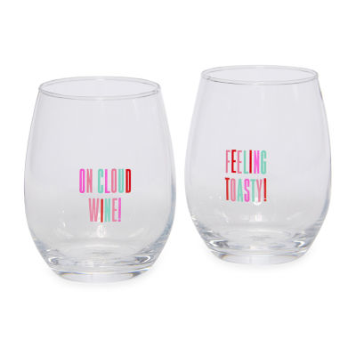 Tri-Coastal Design Adventure Plaid 2-pc. Wine Glass Set