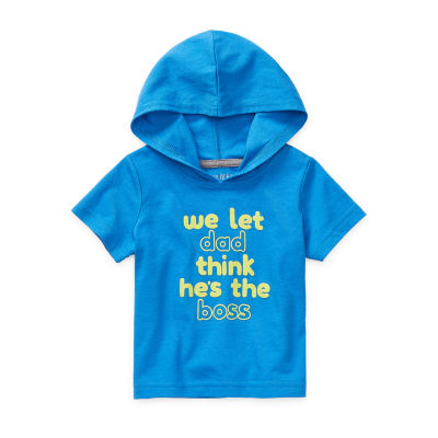 Okie Dokie - Baby Boys Hooded Neck Short Sleeve Graphic T-Shirt