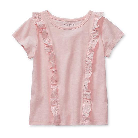 Okie Dokie Girls Round Neck Short Sleeve T-Shirt-Toddler