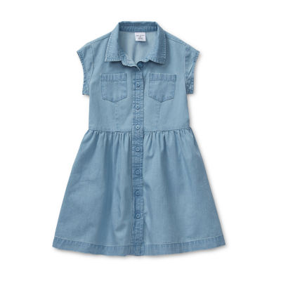 Okie Dokie Girls Short Sleeve Fit & Flare Dress - Toddler