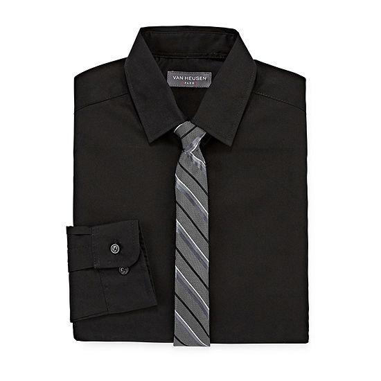 Van Heusen Long Sleeve Flex Shirt + Tie Set - Boys 8-20 Regular & Husky