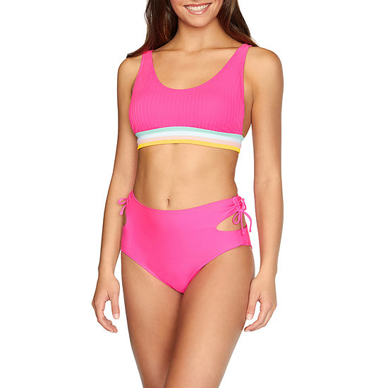Arizona Ribbed High Neck Bikini Swimsuit Top or Bikini Swimsuit Bottom Juniors