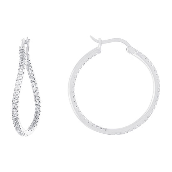 Sparkle Allure Cubic Zirconia Pure Silver Over Brass Hoop Earrings