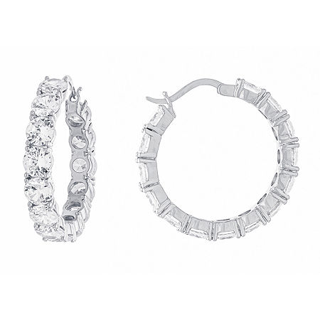 Sparkle Allure Cubic Zirconia Pure Silver Over Brass Hoop Earrings. One Size