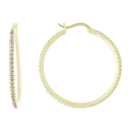Sparkle Allure Cubic Zirconia 18K Gold Over Brass Hoop Earrings. One Size