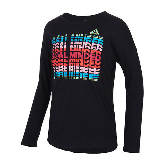 adidas Big Girls Embellished Crew Neck Long Sleeve Graphic T-Shirt