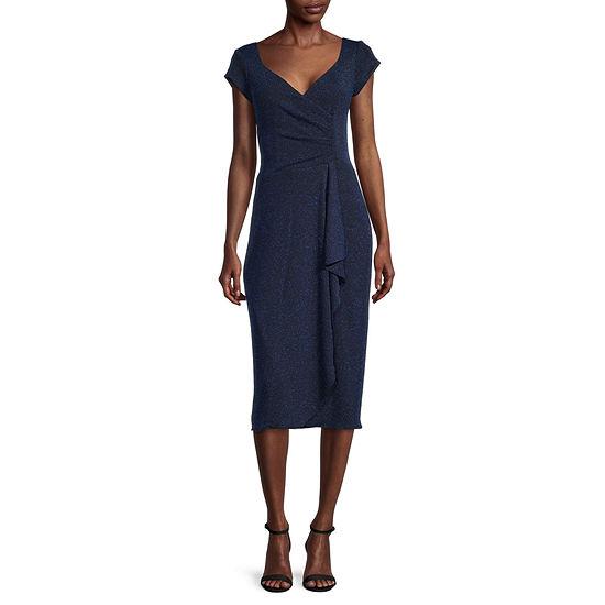 J Taylor Short Sleeve Chevron Glittler Stitch Midi Fit & Flare Dress