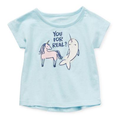 Okie Dokie Baby Girls Round Neck Short Sleeve Graphic T-Shirt