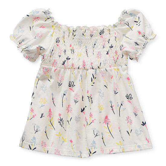 Okie Dokie Toddler Girls Square Neck Short Sleeve Blouse