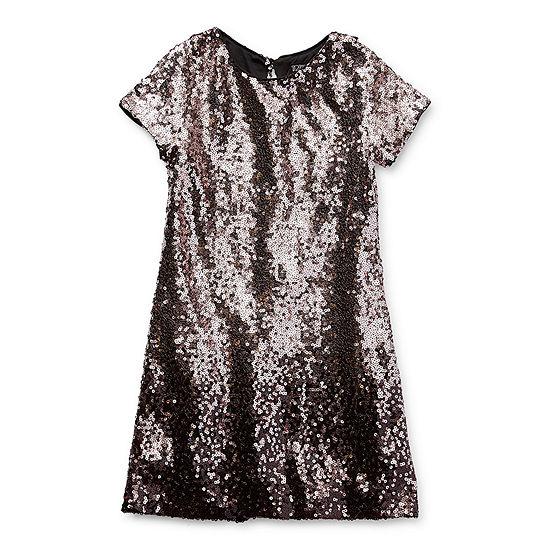 Trixxi Girl Sequin Little & Big Girls Short Sleeve Cap Sleeve Shift Dress