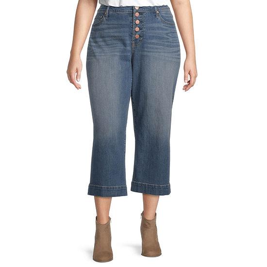 a.n.a - Plus Womens High Rise Wide Leg Stretch Cropped Jean