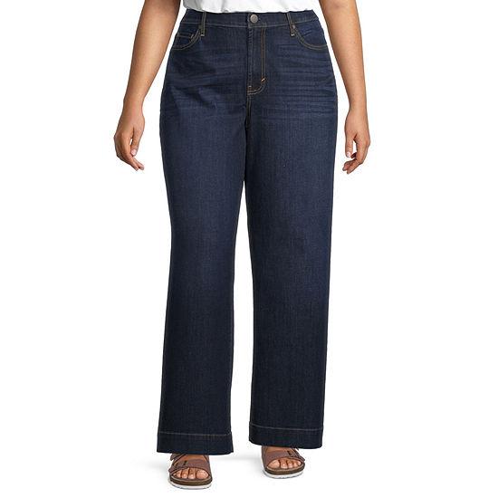 a.n.a - Plus Womens High Rise Wide Leg Jean