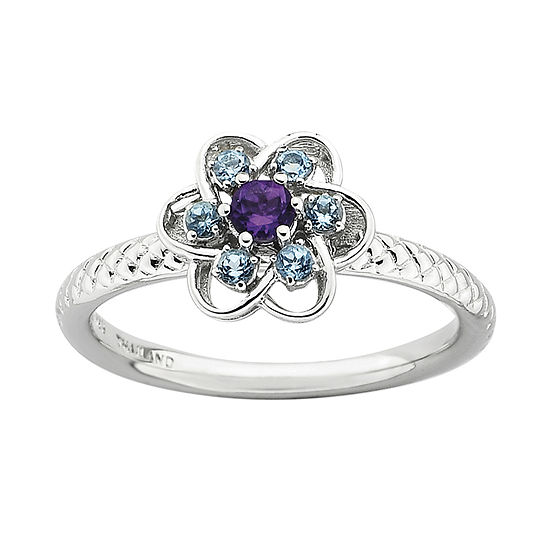 Personally Stackable Genuine Amethyst & Blue Topaz Flower Ring