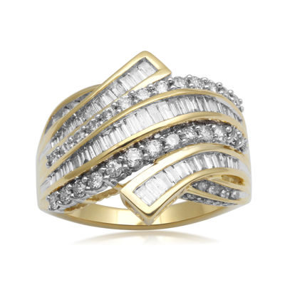 1½ CT. T.W. Diamond 10K Yellow Gold Bypass Cocktail Ring