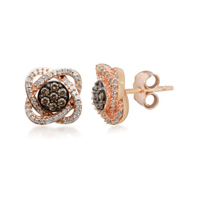 1/3 CT. T.W. White & Champagne Diamond 10K Rose Gold Flower Stud Earrings