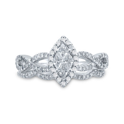 3/4 CT. T.W. Diamond 14K White Gold Marquise-Style Bridal Ring Set
