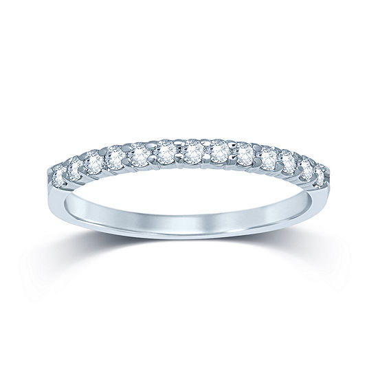 1/4 CT. T.W. Genuine Diamond 14K White Gold Band