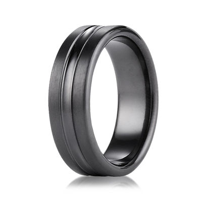 Mens Black Titanium Satin Center 7.5mm Wedding Band