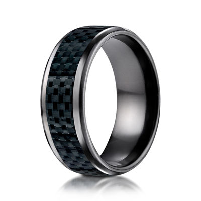 Mens Black Titanium Carbon Fiber Inlay 8mm Wedding Band
