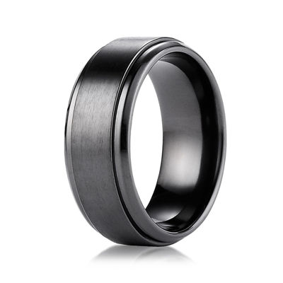 Mens Black Titanium Satin Center 9mm Wedding Band