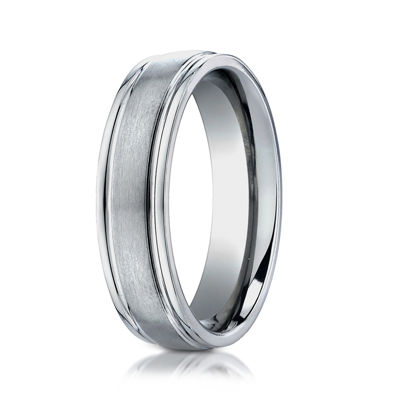 Mens Titanium Satin Center 6mm Wedding Band