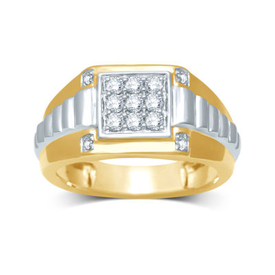 Mens Diamond-Accent Two-Tone 10K Gold Ring