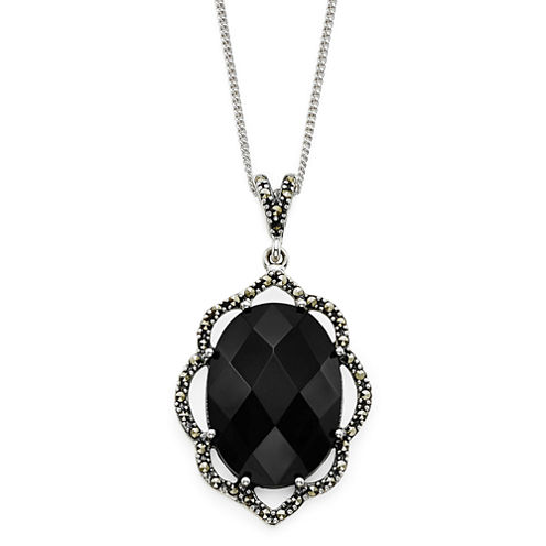 Onyx and Marcasite Sterling Silver Pendant Necklace