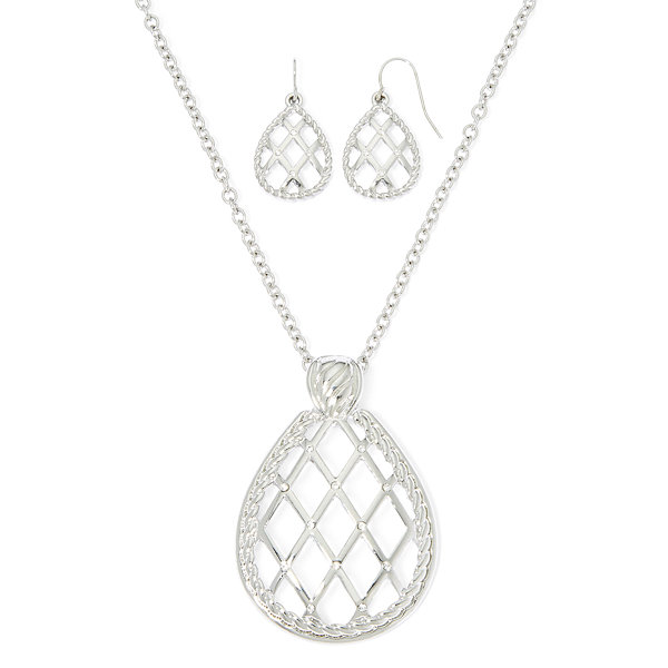 Mixit™ Silver-Tone Teardrop Earring and Necklace Set