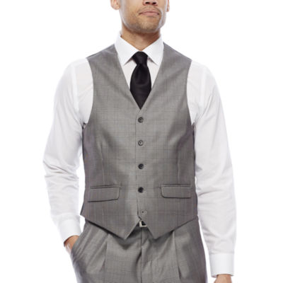 Steve Harvey® Black & White Plaid Vest - Classic