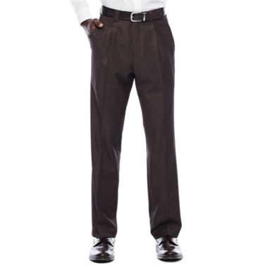 Steve Harvey® Brown Shantung Pleated Pants
