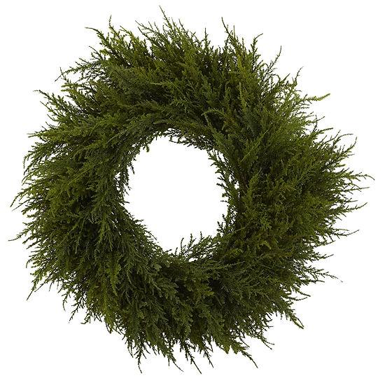Nearly Natural 24in Cedar Indoor Christmas Wreath