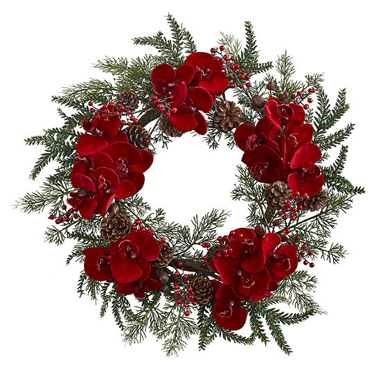 Nearly Natural 22in Holiday Indoor Christmas Wreath