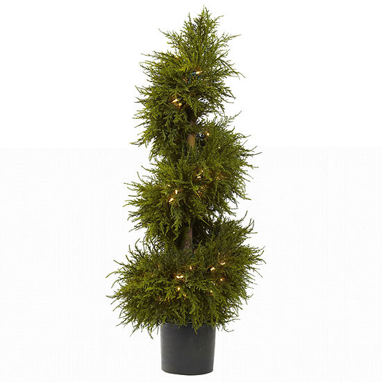 Nearly Natural 43in Cedar Spiral Lit Topiary Pre-Lit Christmas Tree
