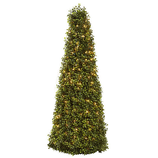 Nearly Natural 39in Boxwood Cone With Lights Pre-Lit Christmas Tree